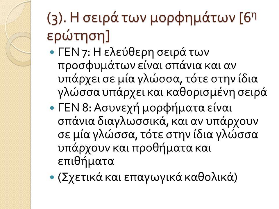 (3). Η σειρά των μορφημάτων [6η ερώτηση]
